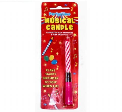 1 x Musical Happy Birthday Cake Candle - PINK